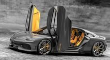 Gemera da urlo, la GT Koenigsegg a quattro posti da 1700 cv. Ibrida con un 3 cilindri 2.0 a metanolo e tre motori elettrici