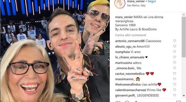 Sanremo, gaffe di Achille Lauro sul post Instagram di Mara Venier: pensa al Festival di 50 anni fa