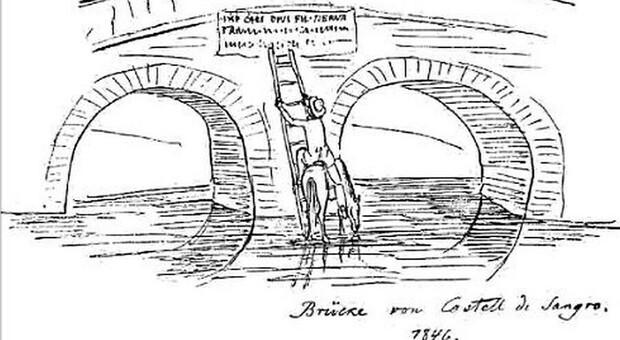 Theodor Mommsen ispeziona l'iscrizione del Ponte della Maddalena a Castel di Sangro nel settembre del 1846 (disegno di J. Friedländer).