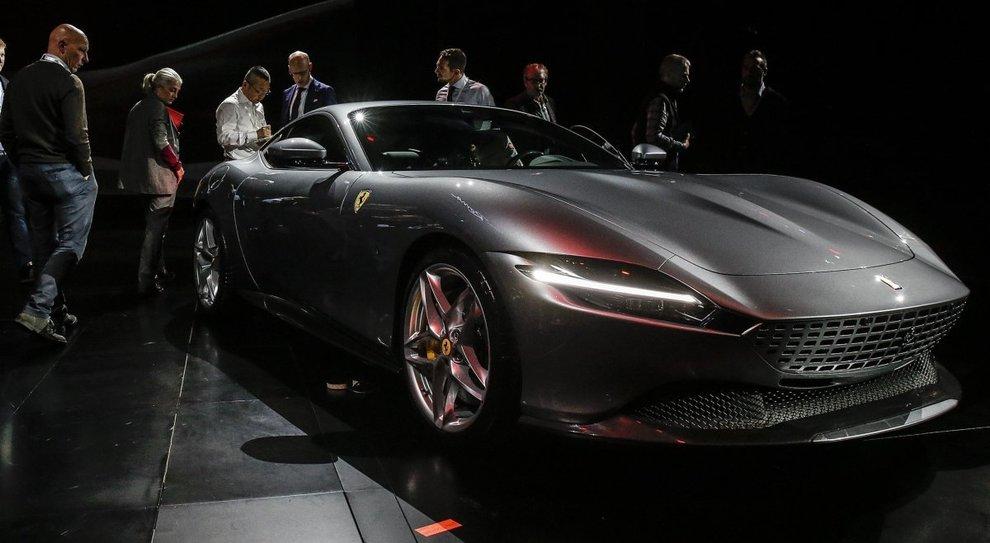 La Ferrari Roma durante la presentazione al Foro Italico