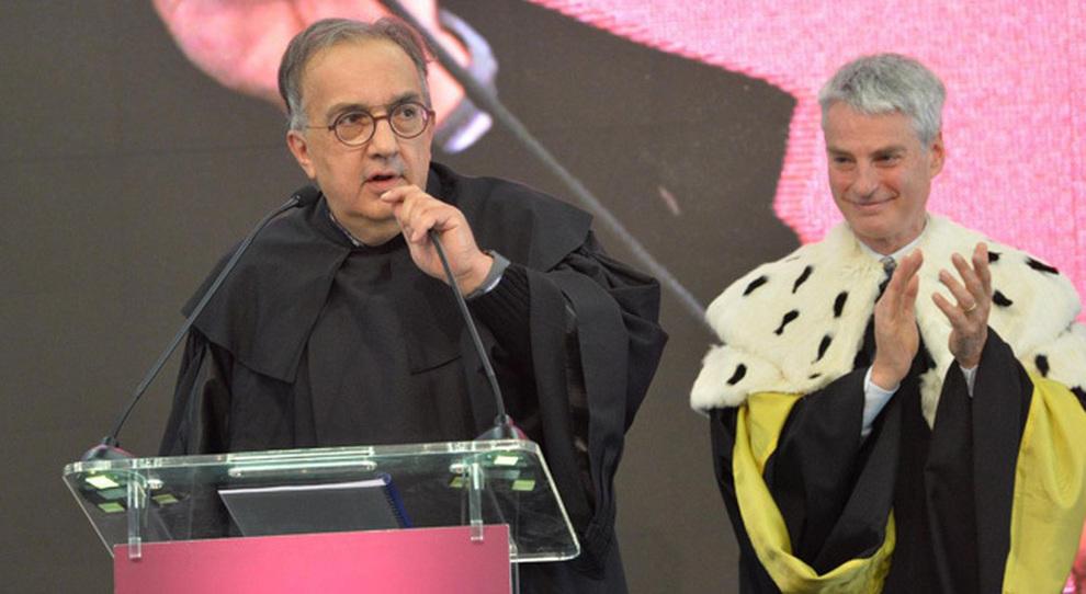 Sergio Marchionne, ad di Fca, in occasione della cerimonia a Rovereto per la consegna della laurea honoris causa che l'università di Trento gli ha conferito