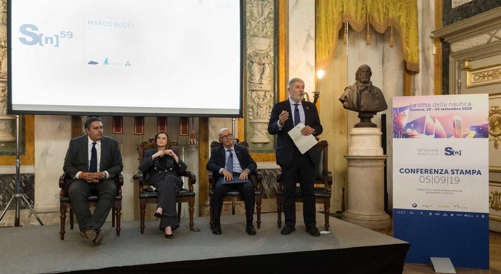 Un momento della conferenza stampa di presentazione del Salone di Genova 2019