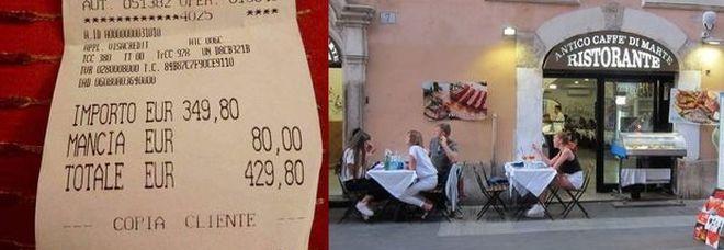 Roma, scontrino choc: 429 euro per due piatti di spaghetti e acqua