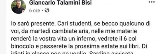 Professore contro le Sardine minaccia i suoi studenti: «Se vi becco in piazza renderò la vostra vita un inferno»
