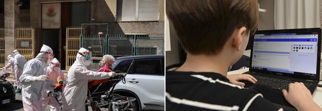 Un'anziana soccorsa in una residenza per anziani e un bambino che segue le lezioni a distanza. Sotto, l'omaggio di Mattarella all'Altare della Patria (25 aprile 2020)
