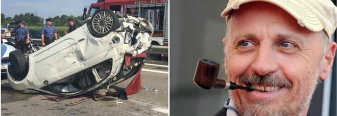 Marco Paolini dopo l'incidente sull'A4: «Colpa mia, distratto da un colpo di tosse». Una donna è in fin di vita