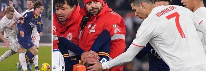 Cristiano Ronaldo consola Nicolò Zaniolo